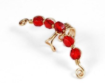 Summer Sale - 10% off - Gold Ear Cuff with Red Glass Beads