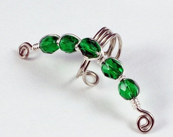 Summer Sale - 10% off - Silver Ear Cuff with Emerald Green Glass Beads