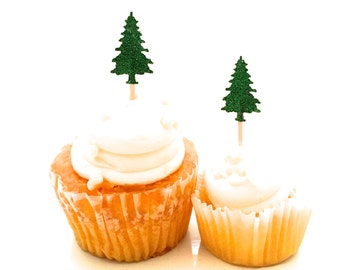 24 Green Glitter Pine Tree Cupcake Toppers - Food Picks -Party Picks