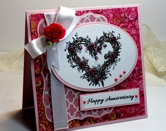 "Anniversary Card- Handmade Card Greeting Card 5.25 x 5.25"" Happy Anniversary PSX Heart Flowers Love Marriage Blank Stationery 3D Card - OOAK"