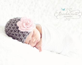 Newborn Girl Hat / Baby Girl Beanie / Baby Shower Gift Girl / Crochet Newborn Hat / Baby Girl Hat / Infant Girl Hat / Newborn Beanie