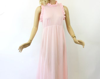 Vintage 60s NightGown Movie Star Pink Nylon Long Gown w Key Hole Back Size Medium Bust 38