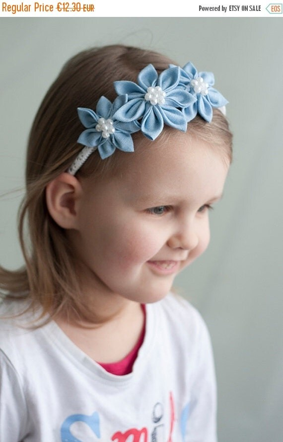 SALE Girl headband - Light blue spring  flower girl  headband -  Kanzashi toddler headband