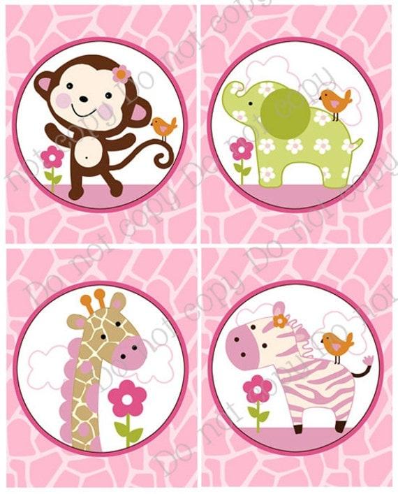 "Set of 4 Unframed ""Jungle Jill/Girl Animals/Elephant/Monkey/Giraffe/Zebra/Pink"" 8x10 inch Nursery Wall Art Prints Baby Children Kids Decor"