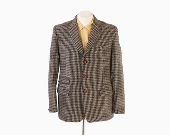 Vintage 60s BLAZER / 1960s Men's HARRIS TWEED Houndstooth Wool Sport Coat Jacket M 38