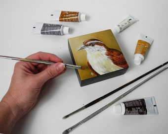 Wren painting - songbird art block - carolina wren - backyard bird painting - tiny art square - little wren art original - yellow ochre