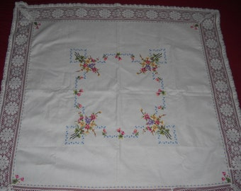 Tablecloth - Cross-stitched - Shabby Chic