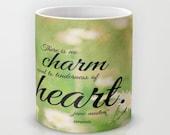 Emma mug Jane Austen coffee Woman quote cup No charm equal tenderness heart tea Literary design Literature nature Writer author