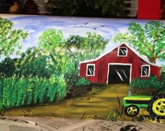 Corn Field and Red Barn Hand Painted Mailboxes