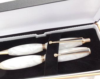 Pen and Pencil Set, Pearl White, Deco Style, Wedding Pen Set