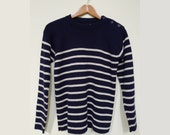 Authentic Vintage French Mariner Sweater, Breton, Size S/M