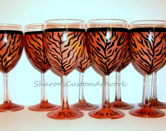 Tiger Cheetah Leopard Zebra Giraffe Print Wine Glasses for Bridal Party -  Set of 8 -10 oz. Wine Glasses Personalized With Names Bridesmaid