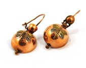 Antike viktorianische Kupfer Ohrringe Intarsien geätzt Damaszener Libellen Jugendstil