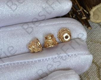 4 pcs 7x8mm 24K Gold plated Brass Flower Bead Cap, Brass Bead Cap, Charms Jewelry Findings, Simple Bead Cap
