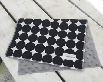 Burp Cloth- Grey Minky with Black and White Polka Dots