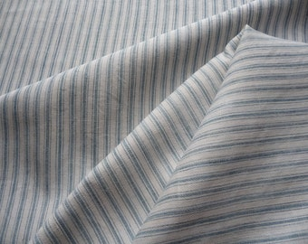 ANTIQUE FRENCH LINEN  ticking pale blue stripe ticking original linen ticking