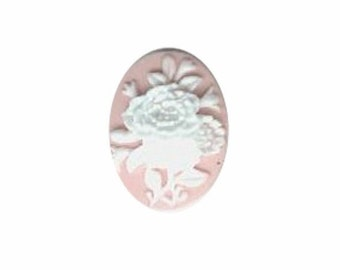 Pink and White Flower Bouquet Resin Cameo cabochon 18x13mm  jewelry finding 583q