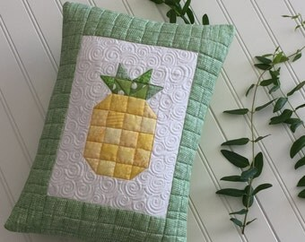 Quilted Pineapple Pillow Sew You Like It Heavily Quilted Yellow Green