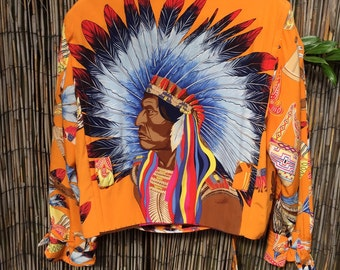 vtg 70s 80s INCREDIBLE indian head cropped moto jacket southwestern navajo ethnic