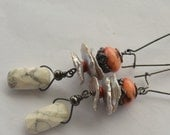 White Stone, Silver Keishi Pearls, Limestone Faux Coral and Black Oxidized Sterling Silver Earrings