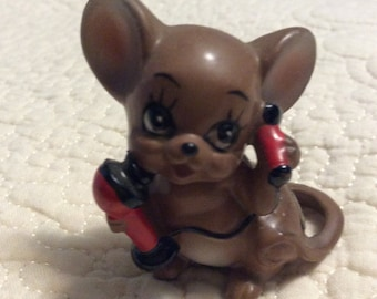Vintage Josef Originals Mouse Figurine with tag Named Talky Japan 1960s Phone Brown Anthropomorphic