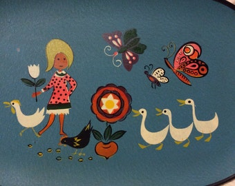 Vintage Groovy Happy Tray Plastic Rattan Handles 1960s Midcentury Modern Girl Goose Butterfly Chicken