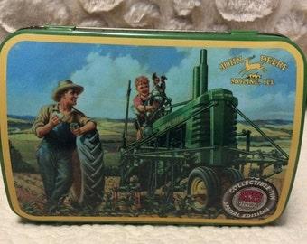 15% SALE Vintage John Deere Tractor Farm Machinery Tin Comtainer Americana Advertising