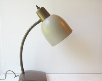 ON SALE SALE Vintage Goose  Neck Desk Lamp - Neutral - Taupe - Brown - Home / Office - Industrial Light - Task Light