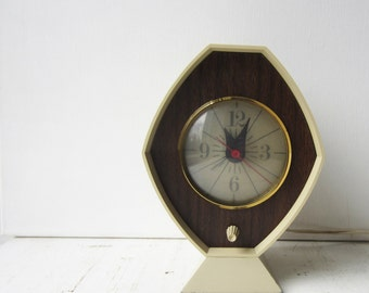 Vintage Mid Century Analog Alarm Clock - with Light - Brown and Bigelow Remembrance