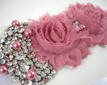 Blush pink bridal sash - blush pink wedding - maternity sash - swarovski crystal wedding