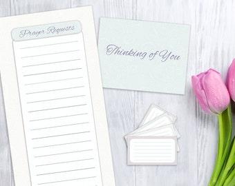 Prayer List, Blank Card, and Verse Cards, printable