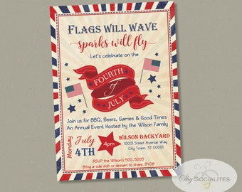 Fourth of July Invitation | 4th of July, Independence Day, Red White & Blue, Vintage, Flags will Wave | Instant Download | Editable Text PDF