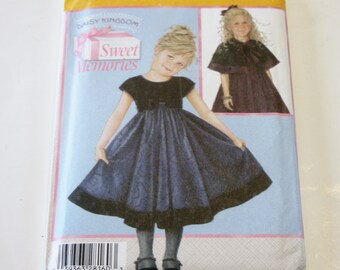Dress Pattern Simplicity 4511: Daisy Kingdom Sweet Memories Child's Dress and Capelet Sizes 3-6 UNCUT