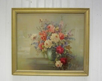 Vintage Framed Morris and Bendien Inc NY Floral Litho Shabby Rose Picture