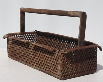 Vintage Metal Handle Basket Tote Tool Box Tool Caddy Storage Industrial Rustic Primitive Country Barn Wedding Farmhouse Garden Decor
