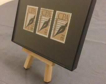 "CPA Accountant - Recycled Postage Stamp Framed Art 4""x6"", Accounting gift, CPA certified"