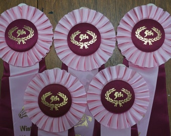 Rosette Horse Prize Ribbons Lot of 5 Ribbons, instant collection, equestrian ribbons, altered art, western decor