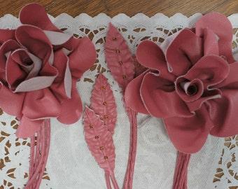 Pink Leatherette Rose Embellishments Lot of 3