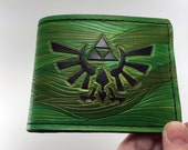 Zelda Inspired Kokiri Forest Hand-Tooled Leather Wallet
