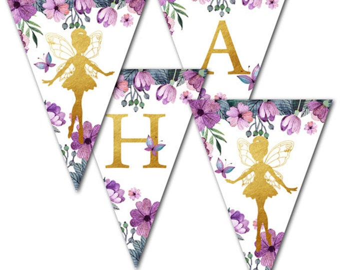 Flower Fairy, Garden Fairy, Fairy Party, Happy Birthday Banner, Instant Download, Print Your Own