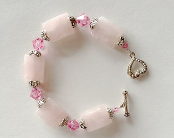 Rose Quarts and Pink Swarovski Crystal Bracelet