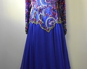 JULY SALE Vintage Evening Sequin Dress 1980s Oleg Cassini Fabulous Beaded Bodice in Blue Purple Red with Multi Layer Chiffon Handkerchief Sk