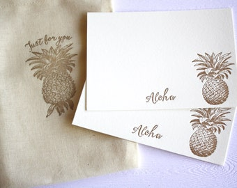 Copper Gold Pineapples Letterpress Cards Aloha Mahalo with Cotton Sack