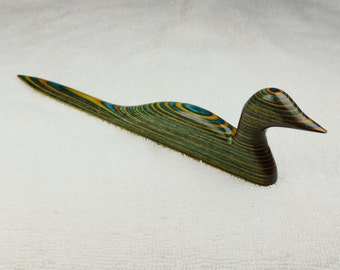 Duck shaped Letter Opener Hand Carved from Sunny Skies DymondWood-  Very durable. Water resistant.