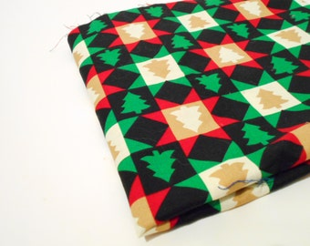 Graphic Holiday Print Fabric, 1/2 Yard Remnant, Cranston Collection, Cotton Sewing Fabric