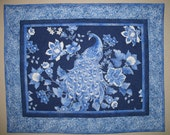 Reserved for Susan Peacock Wall Hanging, Table Topper, Wall Art, quilted, fabric from  Timeless Treasures Plume