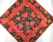 Valentine Table Topper,  Hearts, Love and Swirls in red, quilted, fabric from Hoffman