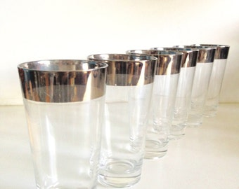 Midcentury Silver Banded Glasses - 6