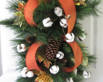 Custom Order For Gina-Cotton Boll Swag, Over Door Swag, Fireplace Swag, Horizontal Swag, Vertical Swag, Fall Swag, Front Door Wreath