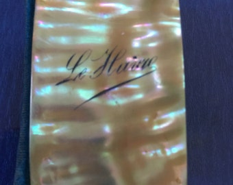 Miniature Dance Card / Aide Memoire/ Wallet...French... Le Harve...C1900-1920...Small Size....Shell... Mother of pearl